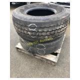 Pallet w/ 425/65R 22.5 Tire & 385/65T 22.5 Tire (2