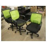 Green and black chairs (3)