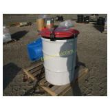 pallet with 55 gallon drum & salt spreader ++