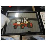 Case tractor on mirror in frame