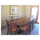 Dining Room Table, 2 leaves, 8 chairs