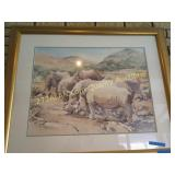 Framed Rhino Watercolor #1, 34H x 41 W