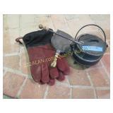 Smudge pot, fire gloves, ash scoop