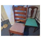Vintage Rocker and chair with green seat