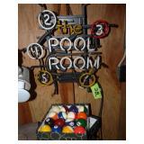 Neon Light & Pool Table Balls