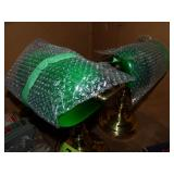2 Green Glass Bankers Lamps