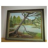 "Framed Painting by Local Artist ""Lone Tree"""