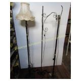 3 Iron Floor Lamps & 1 Lamp Shade
