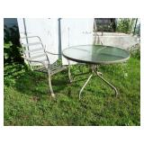 "Outdoor Glass Top Table 42"" & 1 Chair"