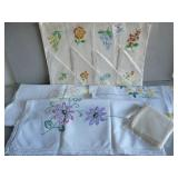Pretty Embroidered Tablecloths, Napkins, Placemats