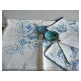Embroidered Tablecloth, 5 Napkins, 2 Signed Pcs.