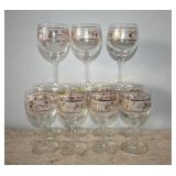 11 Wine Glasses w Gold Pinecone Details