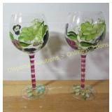 "9"" Hand painted Wine Glasses"