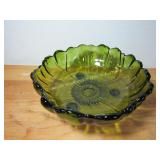 "11"" Glass Green Footed Bowl"