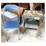 Metal Typewriter Table & Chair