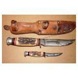 Antler / Bone Handled Knife Set in Sheath