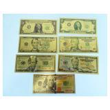 Gold Foil Replica Set of 7 US Bills - Full Series