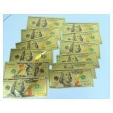 Twelve Gold Foil Replica $100 Bills
