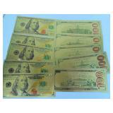 Ten Gold Foil Replica $100 Bills