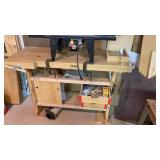 Sjobergs wood workers table with contents and