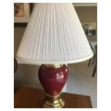 matching burgundy color table lamps