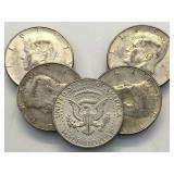 5 Silver Kennedy Half Dollars - 40% - assorted
