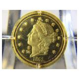 14K Gold Eagle Replica Coin in holder with info -