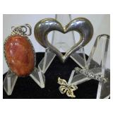 Sterling Silver Brooches and Pendant - Jasper and