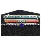 Sterling Silver Brooches with Colored Stones