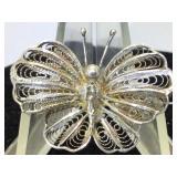 Sterling Silver Filigree Butterfly Brooch