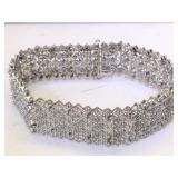 Sterling Silver Bracelet with Diamonds - 7.5 in