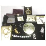 Assorted costume jewelry and more
