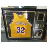 Magic Johnson framed autographed jersey