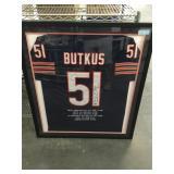 Dick butkus framed jersey autographed