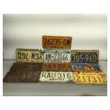 10 vintage assorted US States license plates -