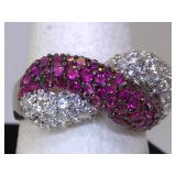 Sterling Silver Ring with Rubies and Clear Stones