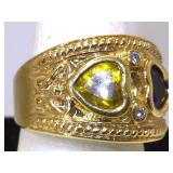 Sterling Silver Vermeil Ring with Sapphire and