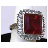 Sterling Silver Ring with Large Ruby and White