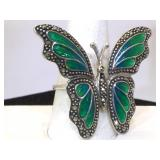 Sterling Silver Butterfly Ring with Enamel - size
