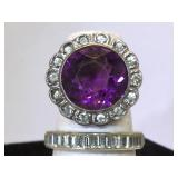 Pr Sterling Silver Rings - Purple and Clear