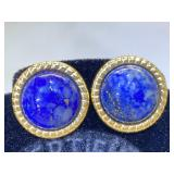 14K Gold earrings lapis 3.1g