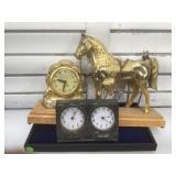 Brass horse desk clock and more (damage on back