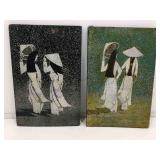 Pair of Vietnamese Lacquer Art on Board. 11x7