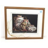 G Morelli Lithograph. Antique Pueblo Signed and