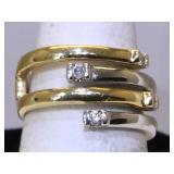14K Gold Ring with diamonds sz7 wieght 8.1g