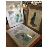 3 Framed prints one on papyrus