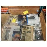 Vintage newspaper shelving and more