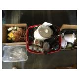 4 boxes kitchen and decorative items