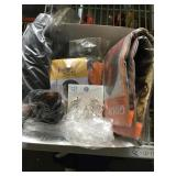 Box of hair extensions and more