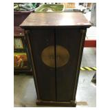 Wood cabinet w/doors, approx 18x13x36 inches